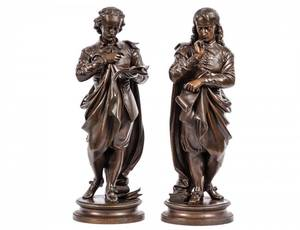 PAIR OF PATINATED BRONZE FIGURES OF POETS