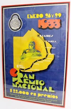 Vintage 1933 Automovil Club Argentino Poster