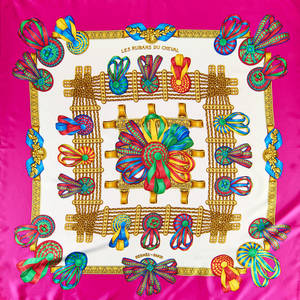 Hermes silk les rubans du cheval scarf