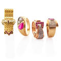 Four retro yellow gold diamond  ruby set rings