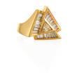 Diamond 14k yellow gold geometric ring