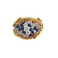 Diamond and sapphire gold cluster ring and guard