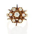 Victorian revival 14k yellow gold diamond ring