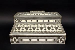 19th C Silvered Metal Mounted Ivory Lap Desk