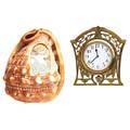Edwardian gold desk clock  carved helmet shell