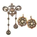 Rose cut diamond silver topped gold earrings  brooch