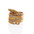 18k yellow gold enameled gemset snake ring