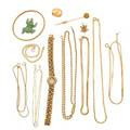 Collection of yellow gold jewelry  accessories