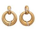 Yellow gold  diamond door knocker earrings