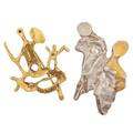 Two modernist gold or silver figural brooches