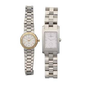 His  hers baume  mercier stainless steel wristwatches