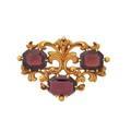 Victorian carved gold  garnet arabesque brooch