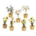 Seven gorham sterling enameled potted plants