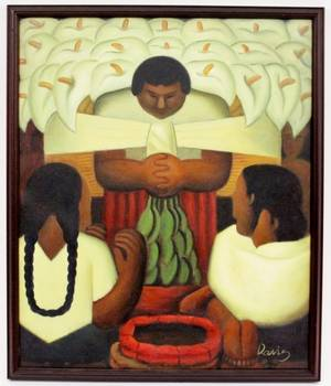 After Diego Rivera Flower Festival Oil on Canvas