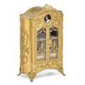 Gilt bronze miniature armoire
