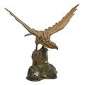 Chinese bronze and champlev hawk