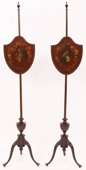 Pair of Mahogany Sheraton Pole Screens