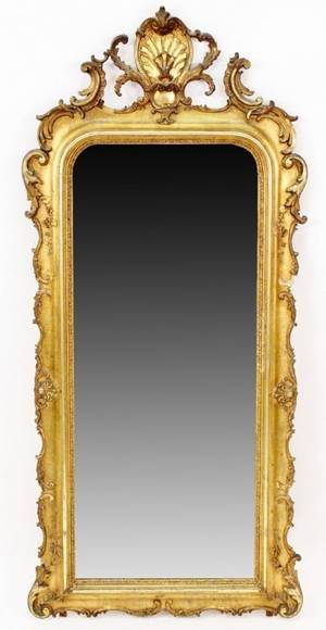 Gilt Wood Wall Mirror wShell  Floral Decoration