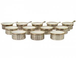 SET OF TWELVE STERLING SILVER RAMEKINS