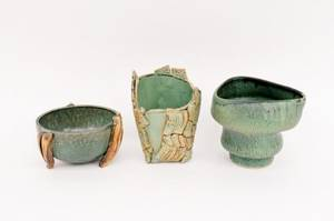 Three Ching Wen Green Ceramic Vases