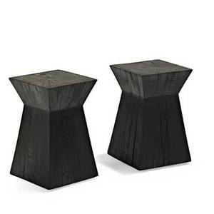 Christian liaigre holly hunt pair of stained oak occasional tables new york 1990s unmarked 17 14 x 11 sq