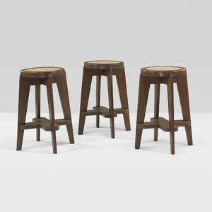 Pierre Jeanneret   set of three stools from Punjab University Chandigarh