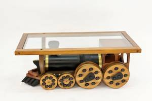 Train Motif Oak  Glass Coffee Table