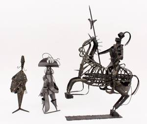 Group of Three Metal Figural Sculptures