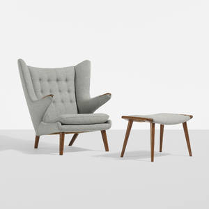 Hans J Wegner   Papa Bear chair and ottoman
