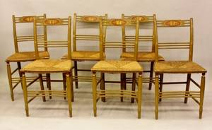 Set of Six American Hand Painted Side Chairs