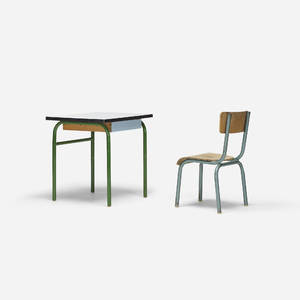 In the manner of Jean Prouv   childs desk and chair