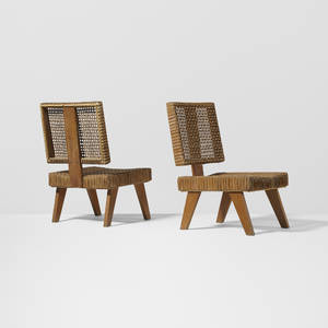 Pierre Jeanneret   pair of rare lounge chairs from the Yves Korbendau residence Rabat