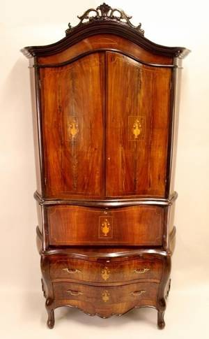 E 20th C Inlaid Mahogany Secretary