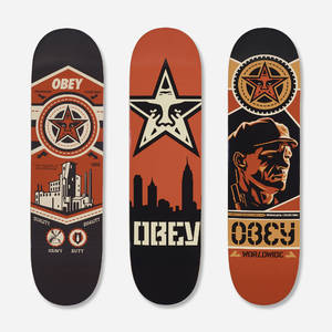 Shepard Fairey b1970  skateboard decks set of three