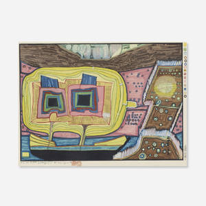 Friedensreich Hundertwasser 1928–2000 - Two Trees on Board of Regentag (from Midori No Namida portfolio)