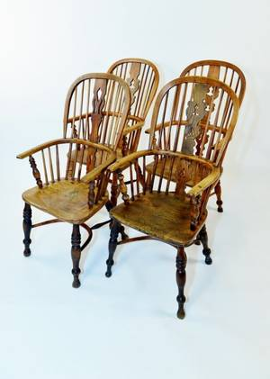 Four English Windsor Armchairs