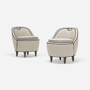 Gio Ponti attribution   lounge chairs pair