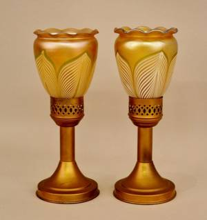 Pair of Lamps with Steuben Style Shades