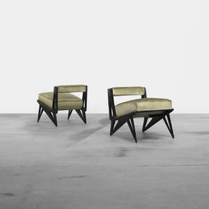 Ico Parisi attribution   lounge chairs pair