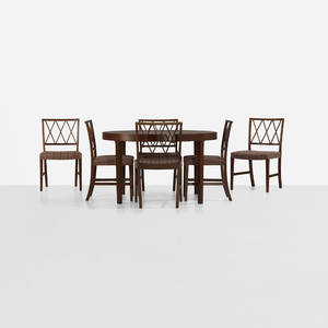 Ole Wanscher   dining table and six chairs