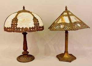 Two Leaded Art Glass Table Lamps