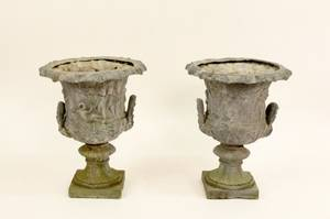 Pair of Heavy Lead Urn Garden Planters