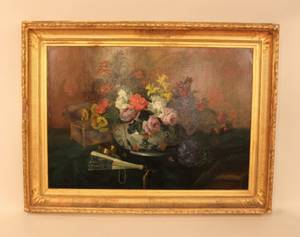 Late 19th C Oil on Canvas  Still Life
