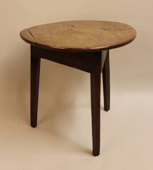 19th Century English Elm Wood Cricket Table