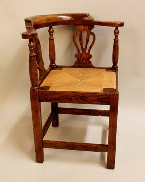 20th C Oak Corner Chair by Randy Wilkerson
