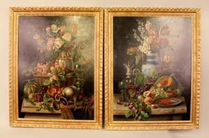 19th C Italian Oil on Canvas Still Life PaintingsPair
