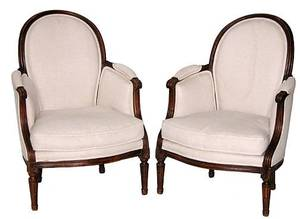 59 Pair Regency Style Walnut Frame Painted Chairs