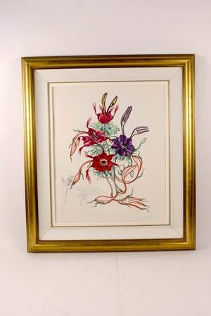 Dali Surrealist Flower Lithograph Signed