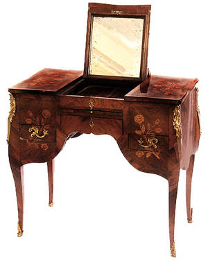 103 19thC Louis XVI Style French Inlaid Dressing Table