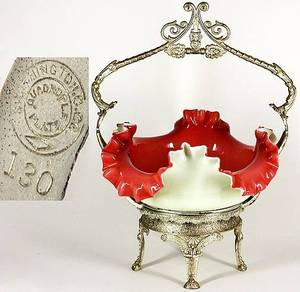 70 English Art Glass Brides Basket on Original SP Stan